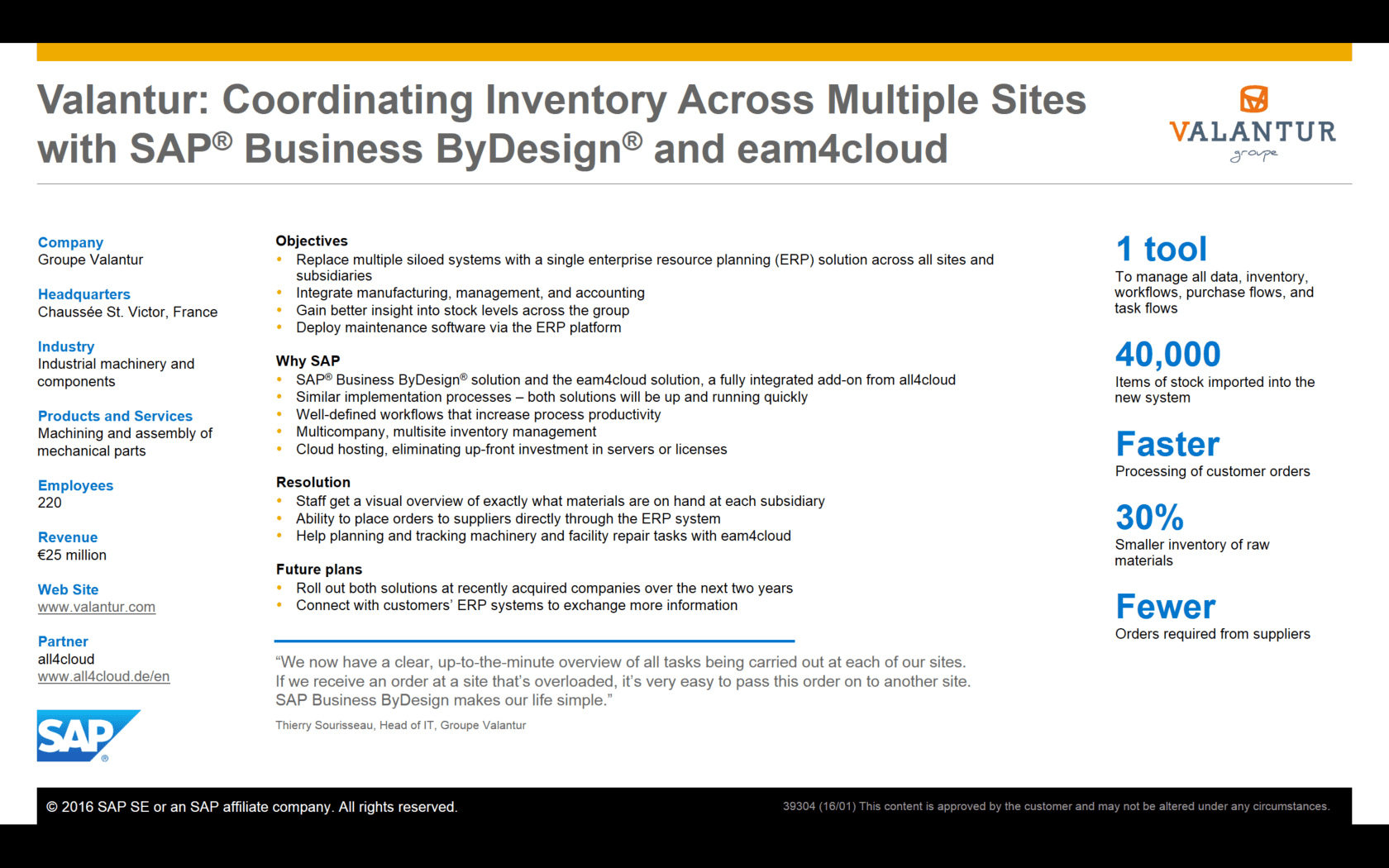 SAP Cloud ERP Business ByDesign Kunde Valantur all4cloud Success Story Erfolgsgeschichte Technologie Industrie 4.0