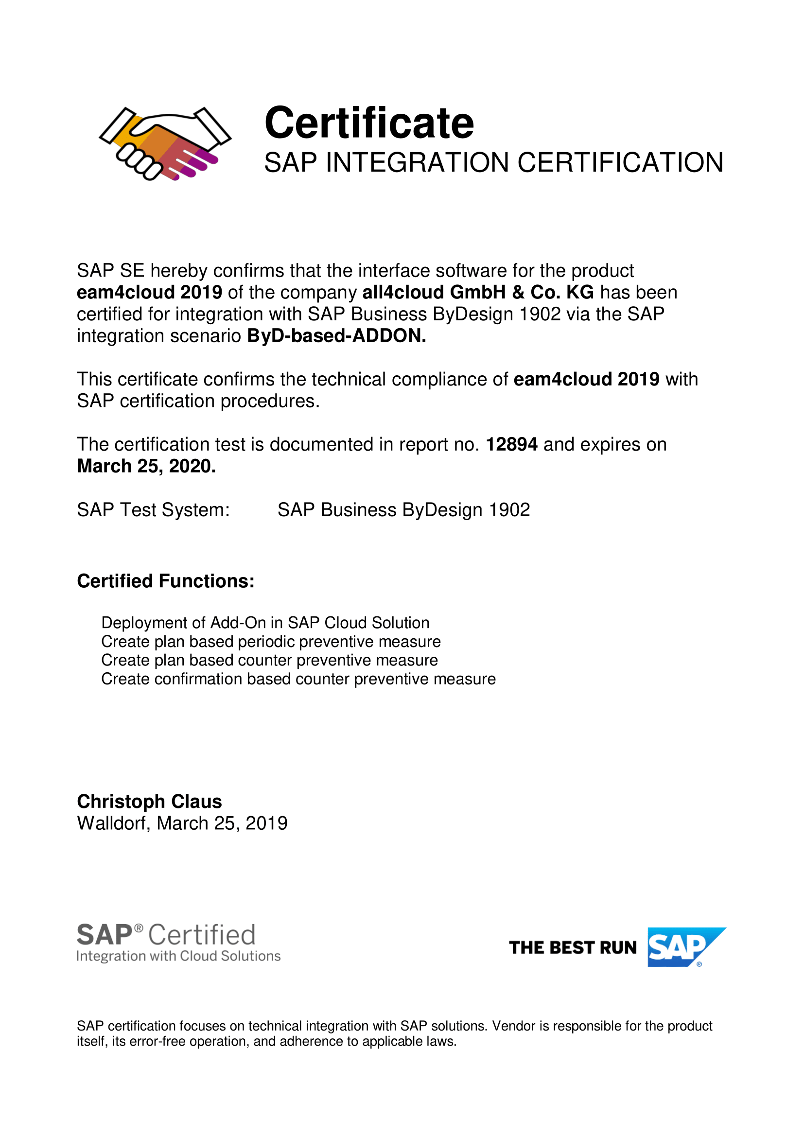 SAP Cloud ERP Addon eam4cloud Certification Integration all4cloud